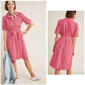 Anthropologie Hi-Low White/Red Stripes Shirtdress